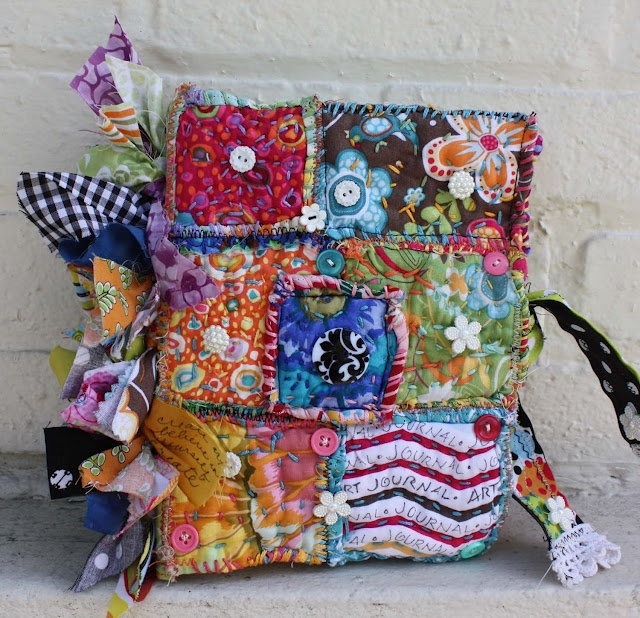 patchwork fabric journal cover