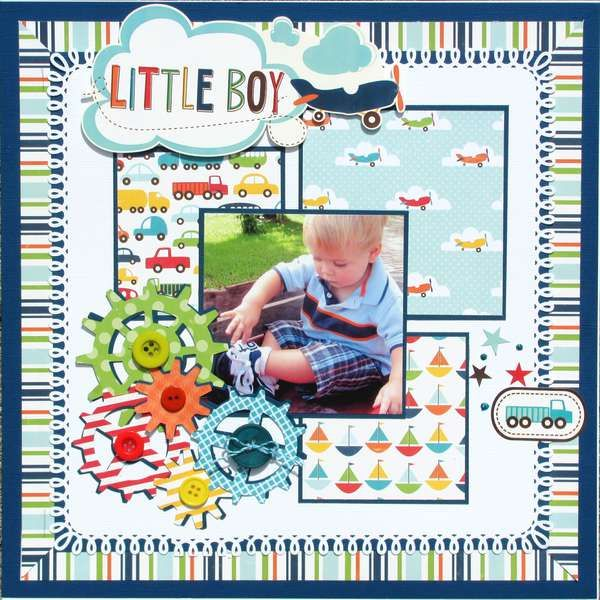 Echo Park - little boy collection scrapbook layout. Mitre the corners with 45 degrees on stripes. What a cool look. Could be 2 pager. Lh
