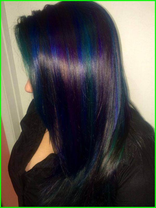 Black Hair With Blue Underneath 12128 Galaxy Hair By Ursula Goff Amp Stuff Home Teal Hair Highlights Hair Styles Galaxy Hair