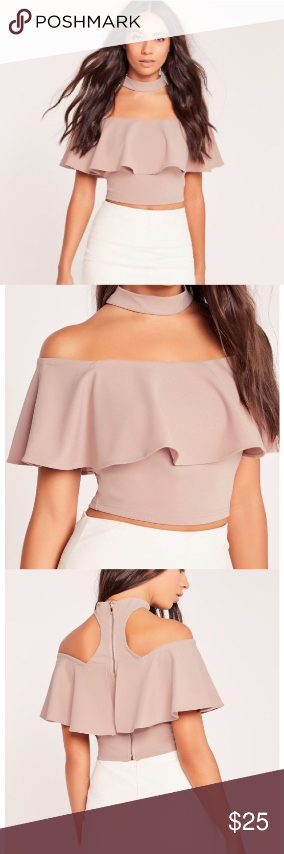 Choker neck frill bardot crop top nude Crop top in great condition, only worn once! Missguided Tops Crop Tops