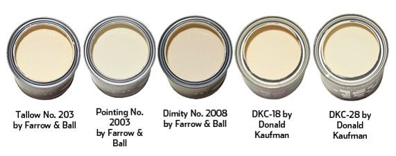 Tallow - classic Parisian crème fraîche. Sunny neutral will maximize natural light. Pointing - warm white bright enough to go modern and soft enough to carry a classical space. Dimity - warmest of the three, it has slightly deeper red undertones. DKC-18 - warm neutral white with barely perceptible red undertones. Try it on a ceiling and it will reflect a beautiful light. DKC-28 - slightly yellower than DKC-18, luminous, creamy white - more clotted cream than crème fraîche.