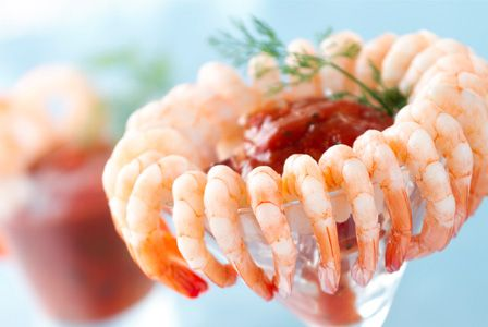 Shrimp cocktail in a martini or wine glass!  I love it.