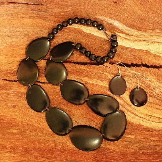 Black Statement Necklace and Earring Set  by ArtisansintheAndes
