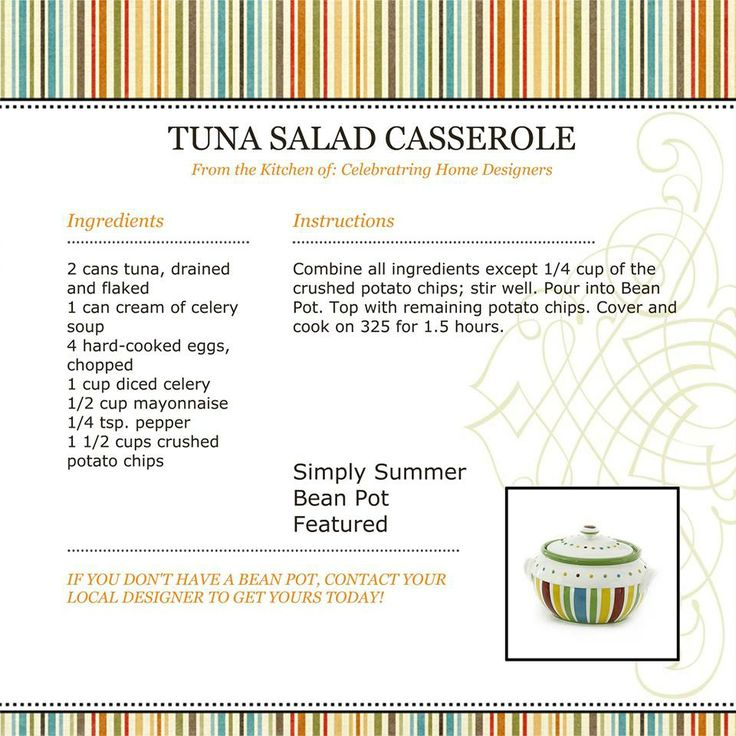 Celebrating Home Recipes   Tuna Salad Casserole