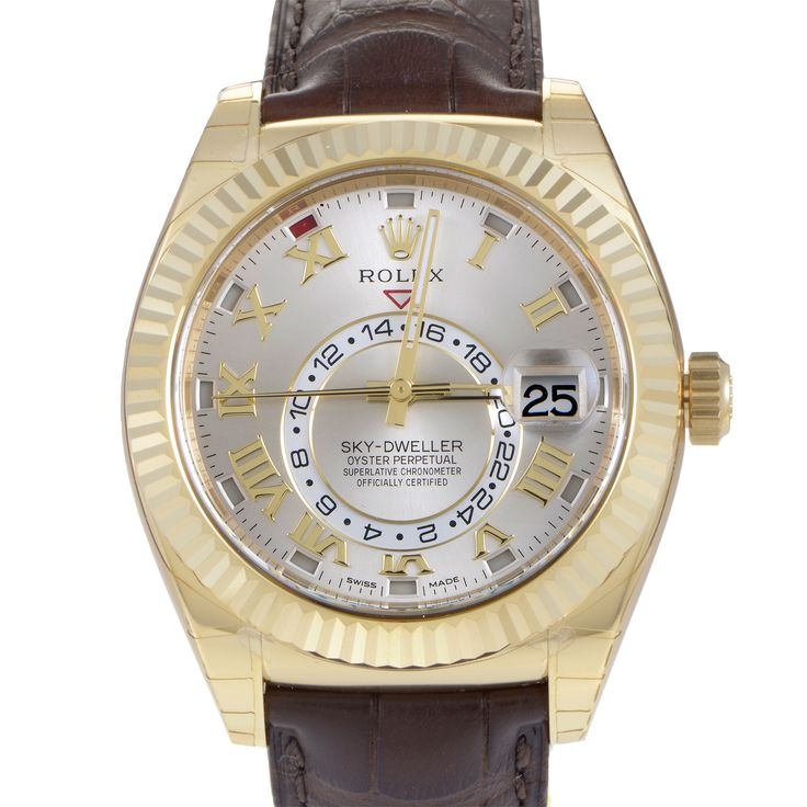 The functions of this uniquely masculine Oyster Perpetual Sky-Dweller watch from Rolex are hours, minutes, seconds, date and second time zone. These function...