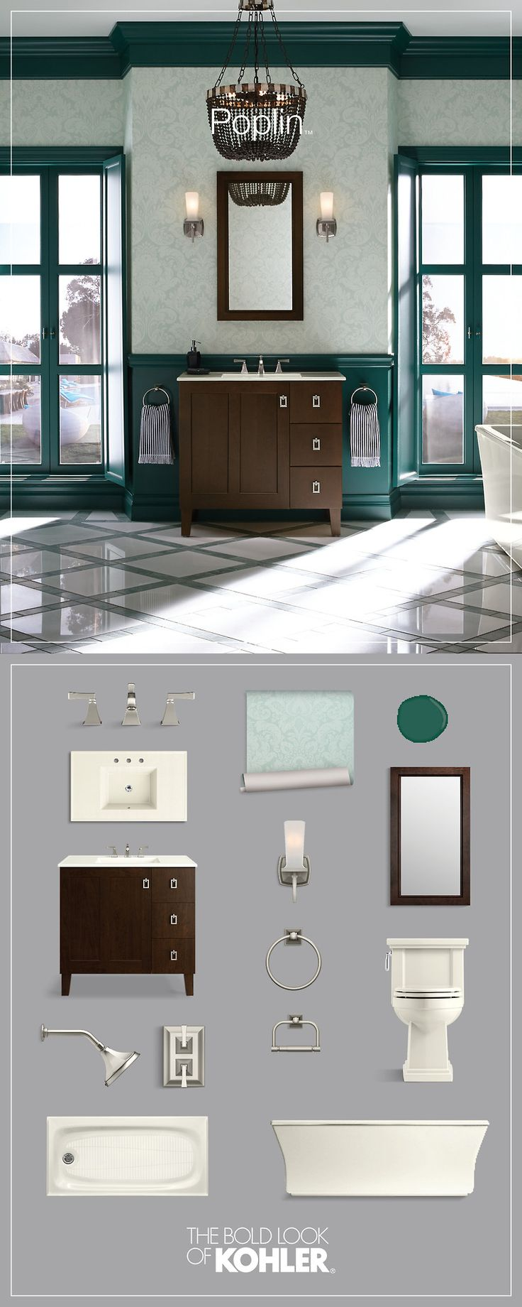 Pictures In Gallery Get the look classic bathroom featuring Kohler Poplin Tailored Vanity