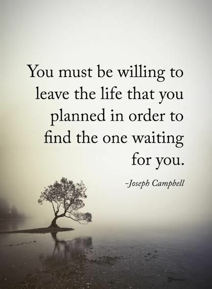 You must be willing to leave the life you planned in order to find the one waiting for you. Joseph Campbell