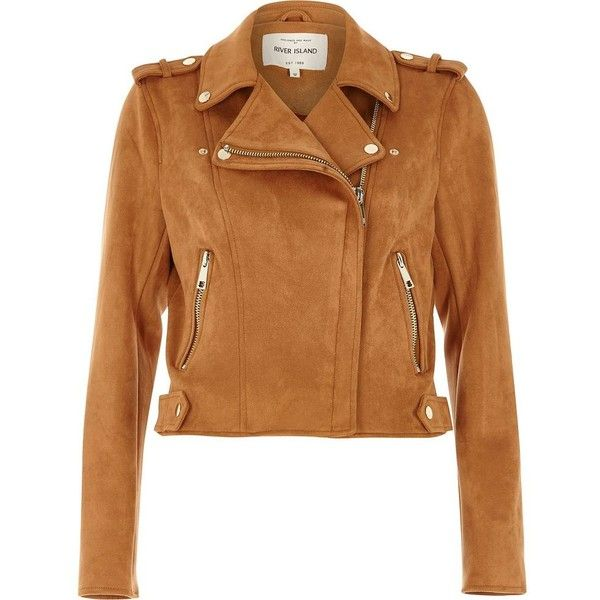 River Island Tan faux suede biker jacket ($116) ❤ liked on Polyvore featuring outerwear, jackets, coats / jackets, tan, women, tall jackets, beige biker jacket, faux suede biker jacket, biker jacket and motorcycle jacket