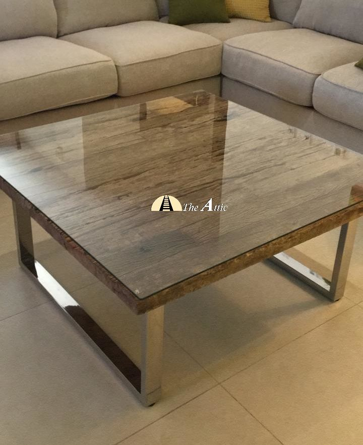 Railway Sleeper Wood Coffee Table With Stainless Steel Legs Coffee Table Coffee Table Wood Furniture