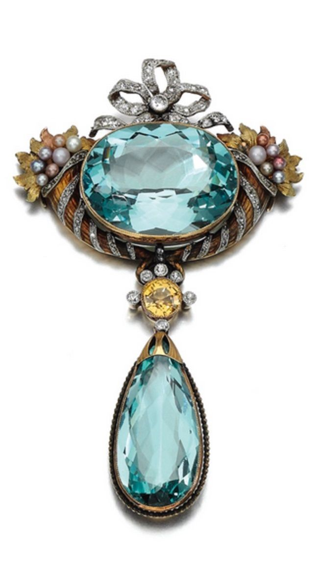 Antique aquamarine, citrine, seed pearl pendant-brooch, c1900