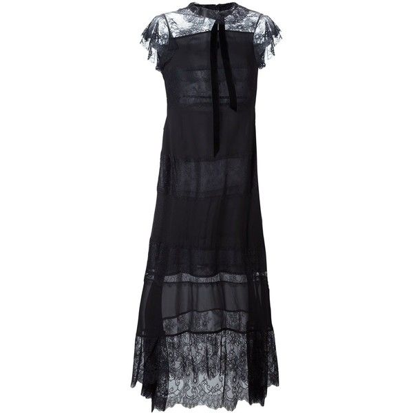Philosophy Di Lorenzo Serafini lace midi dress (£810) ❤ liked on Polyvore featuring dresses, black, mid calf lace dress, lace midi dress, lacy dress, midi dress and lace dress