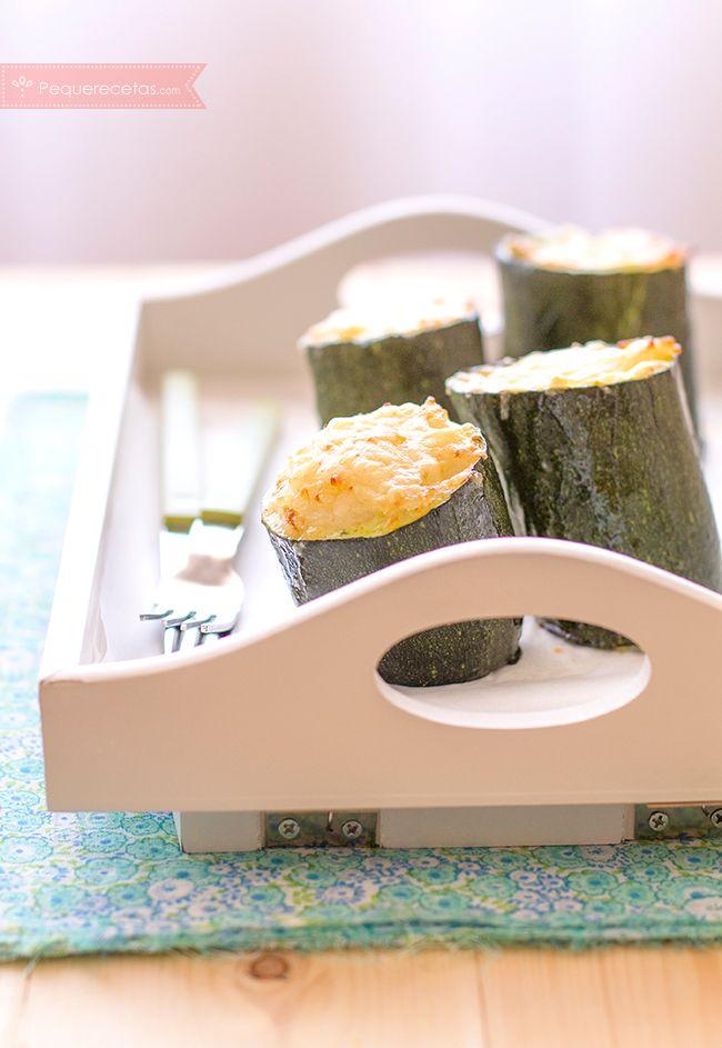 Calabacines rellenos de arroz con jamón