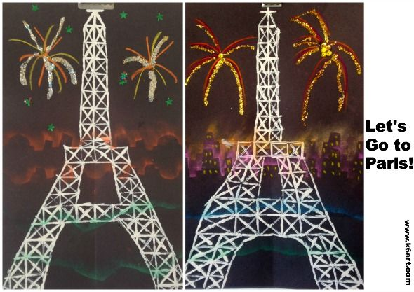 printed eiffel towers for Bastille Day. Post includes video of fireworks in Paris! Inspired by Cassie Stephens blog.