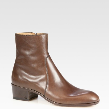 Gucci Brown Leather, Cuban Heel Boot  and embossed interlocking G logo.