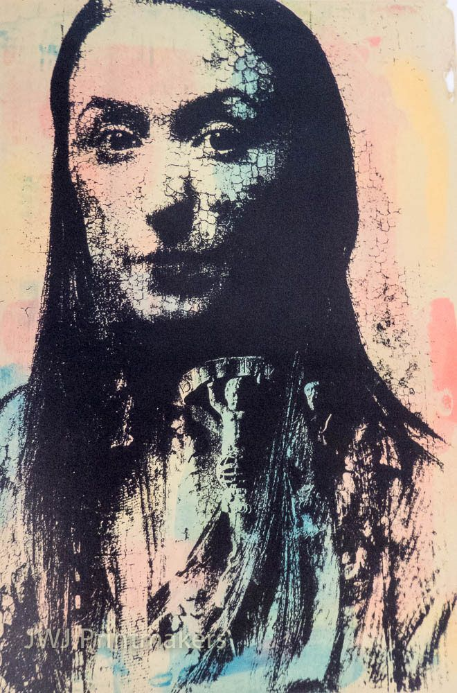 https://flic.kr/p/CgGm4Z | Waiting for Marco Polo | Wendy North - photo screen print with mono print background.