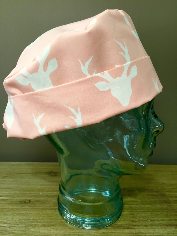 Blush Pink Buck & Doe Antler Surgical Scrub Cap, Hello Deer Women's Scrub Hat, Custom Caps Company by CustomCapsCompany on Etsy #buckforest #artgalleryfabric