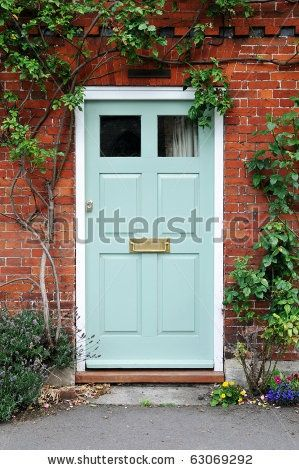 stock photo : Front Door of a Beautiful Red Brick House