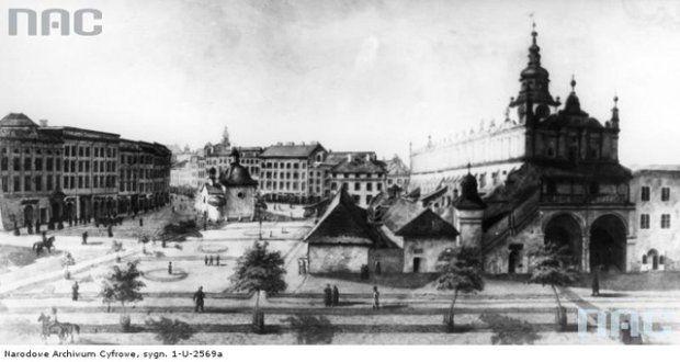 Rok 1863. Rynek Główny - widok ogólny z Sukiennicami. Widoczne nieistniejące już budynki