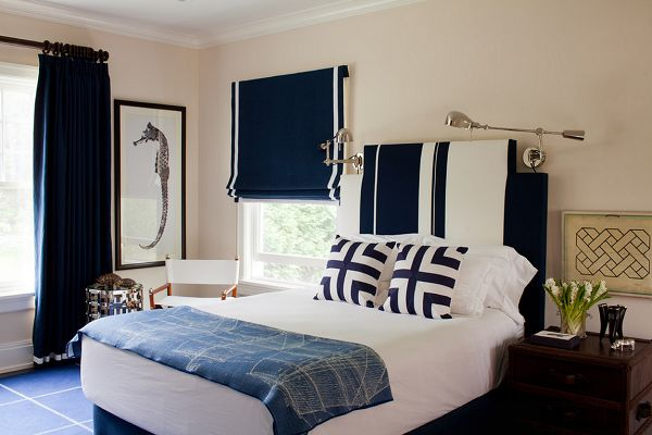 beautiful bedroom - LOVE those navy roman shades, with the white trim!! The Pampered Guest    Calling It Home