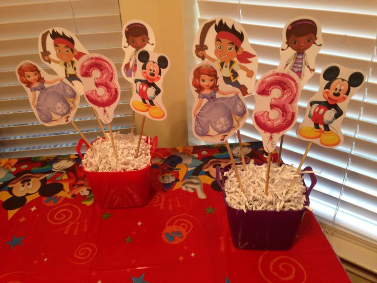 Center pieces for Disney Jr Birthday Party