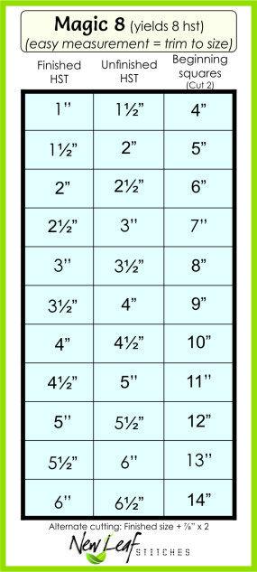 Magic 8 Half Square Triangle chart