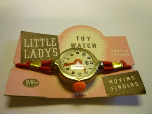 Dibro-Toys-Little-Ladys-Toy-Watch-still-attached-to-card-retainer-1960s-ERA