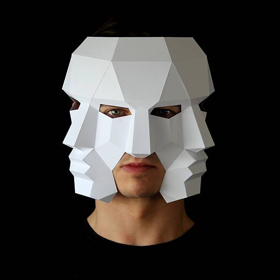 Three Face Mask – Make this 3D mask with this PDF download and card