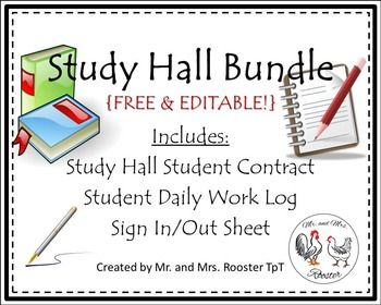 Free Study Hall Bundle - Student Contract, Daily Work Log, & Sign In/Out Sheet.