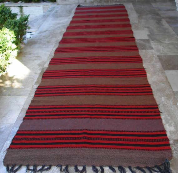 Antique Anatolian Kilim Rug Runner Striped Brown Red Black