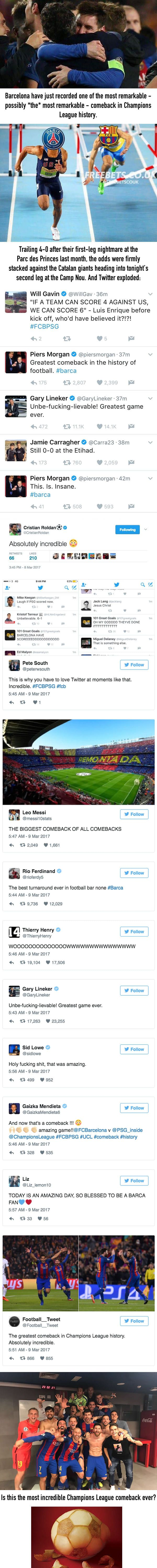 Twitter explodes as Barcelona beat PSG 6-1 in the Champions League