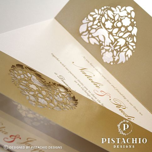 detailed heart laser cut - two fold wedding invitation made by www.pistachiodesigns.co.za