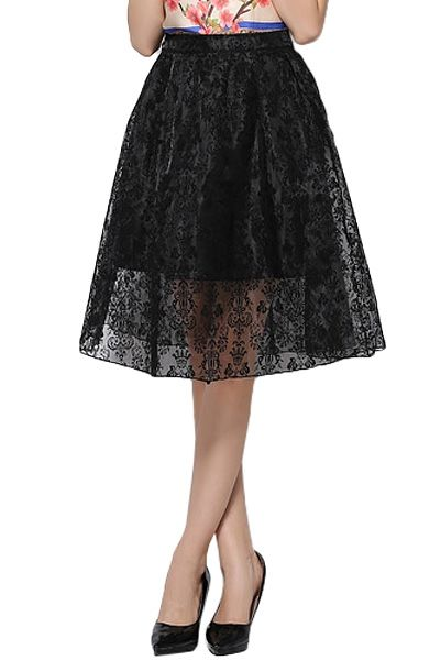 Solid Color Lace Skirt
