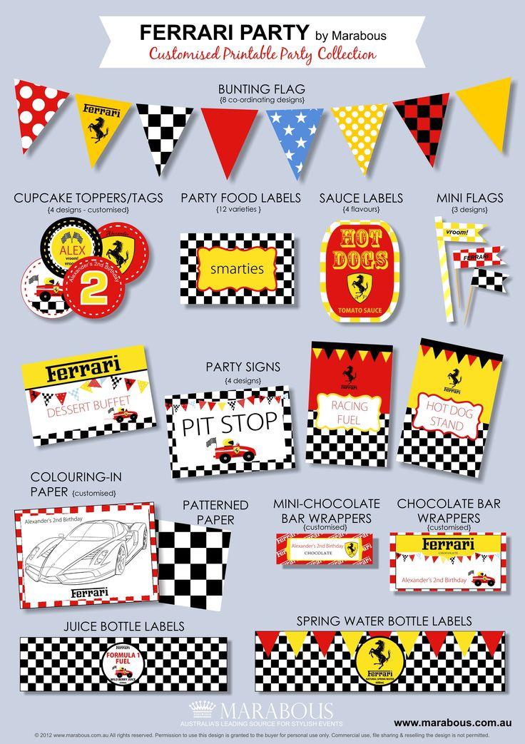 Ferrari Party Printable Collection
