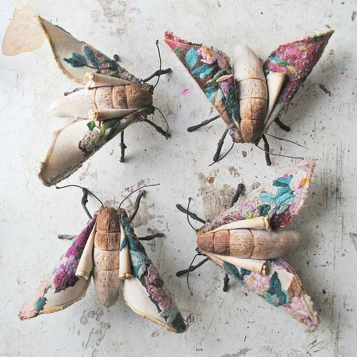 Mister Finch - Textile art - Blossom moth sisters small