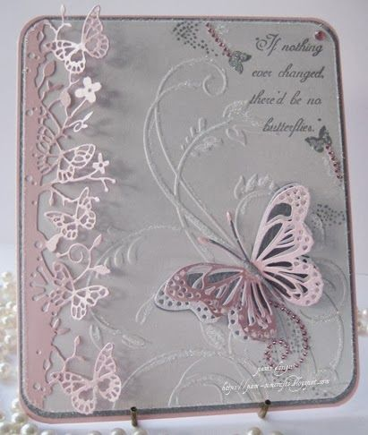 Beautiful die cut butterflies with embossing powder embellishment