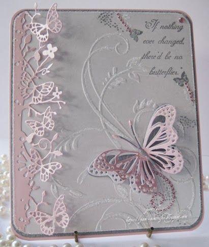 Beautiful die cut butterflies with embossing powder embellishment