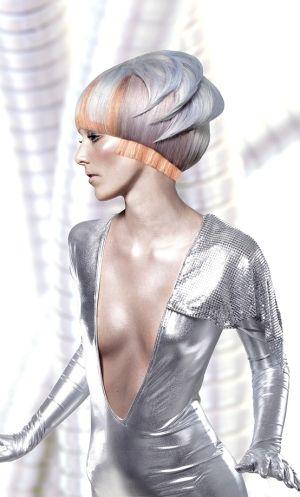 future, futuristic, Suzanne Pack, future girl, futuristic girl, Wella, hairstyle, silver hair, girl in silver, futuristic look, fashion by FuturisticNews.com