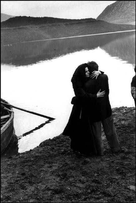 by Josef Koudelka Location shooting of the film 'Ulysses' Gaze', directed by Theo Angelopoulos. Actors Harvey Keitel and Maia Morgenstern, 1994 / Magnum Photos