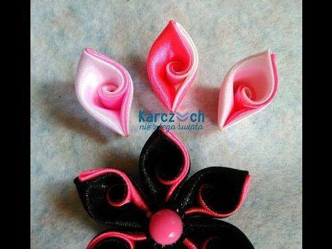 Мастер класс Канзаши : Новый лепесток с легким завитком / kanzashi flowers tutorial - YouTube
