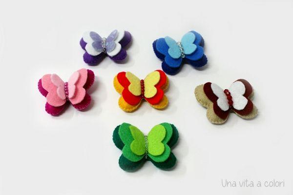 Calamite da frigo, farfalle colorate in feltro, perfette per decorare la casa a primavera. Ideali per decorare la lavagna di casa o quella dell'ufficio.