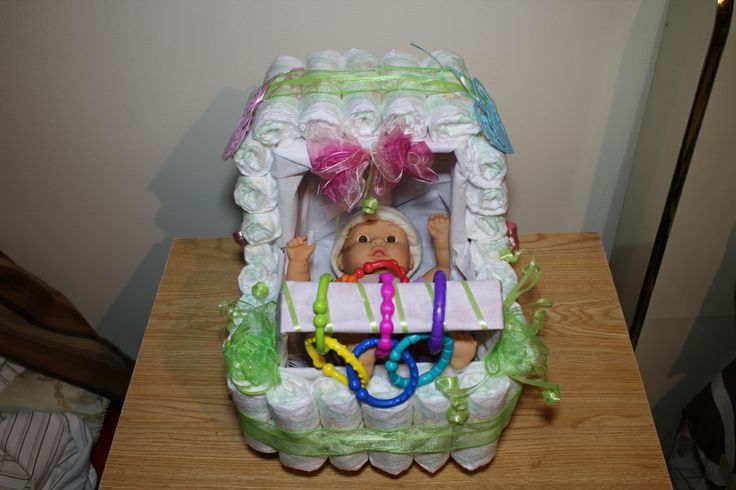 Baby shower diaper stroller specialty arts and crafts for Diaper crafts for baby shower