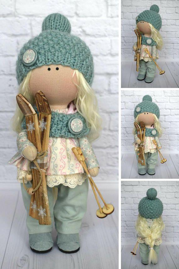 Ski Doll Fabric Doll Handmade Doll Nursery Doll Art Doll Baby