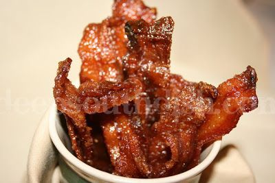 Candied bacon, glazed with a spicy brown sugar mixture and baked. Pig Candy!