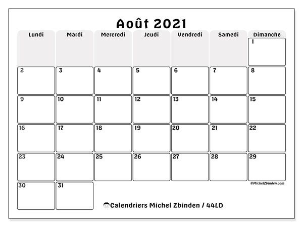 Calendrier 44LD   Impression août 2021   Michel Zbinden FR