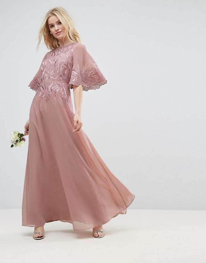 Asos Wedding Lace Applique Flutter Sleeve Maxi Dress