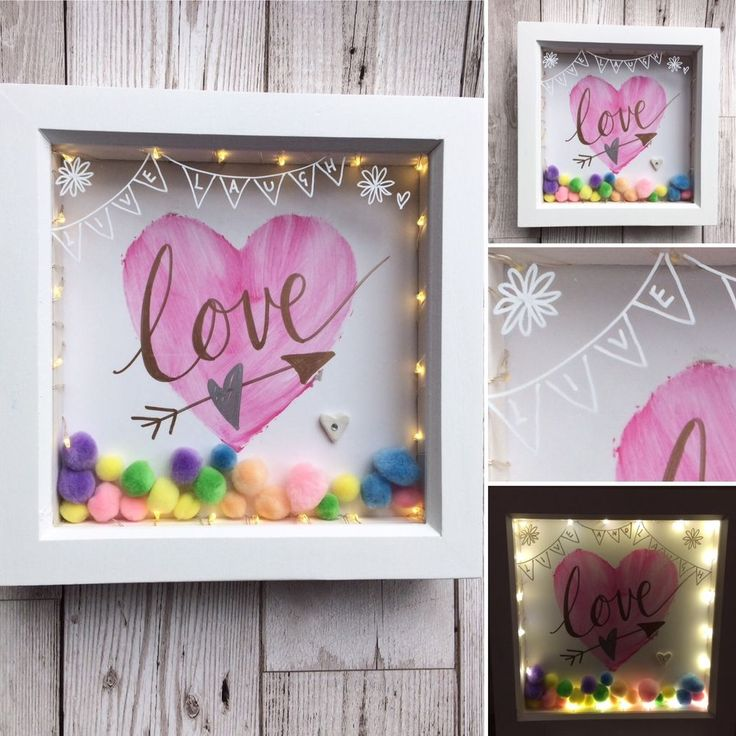 Framed artwork,led lights,Handpainted original,'live laugh love' gift, weddings