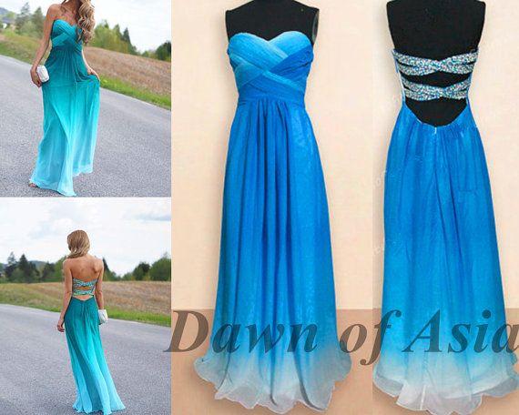 Long prom dress  blue prom dress / backless prom by DawnofAsia, $128.00