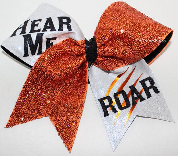 HEAR me Roar Custom Cheer Hairbow sequin ALLSTAR - available in your colors on Etsy, $18.00
