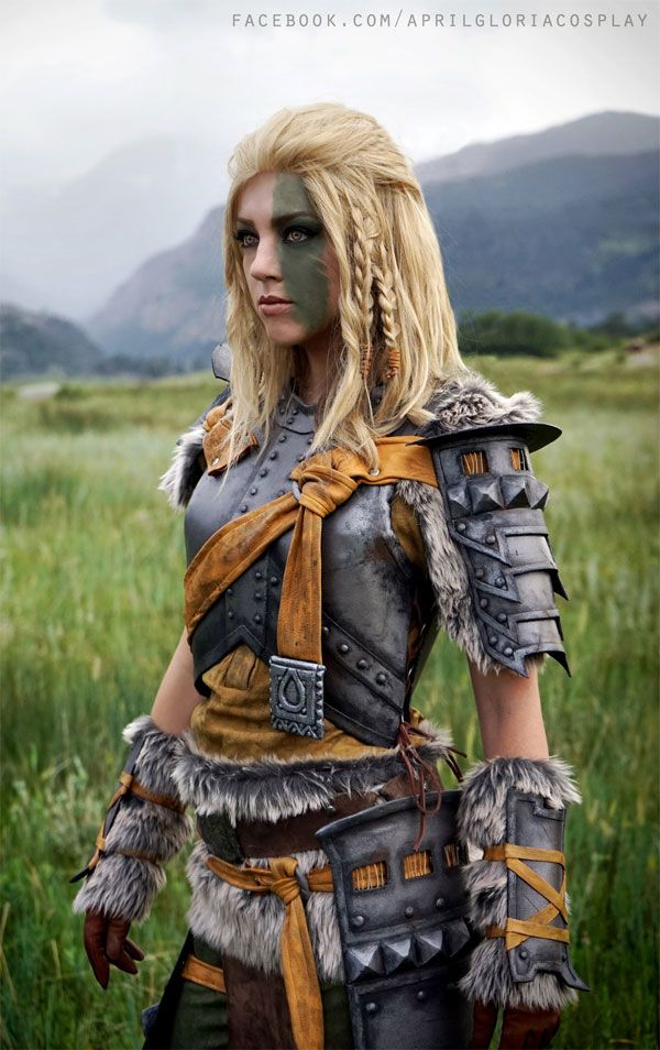 Cosplayer April Gloria looks absolutely stunning as Mjoll the Lioness, a Nord vigilante that is part of the Skyrim/Elder Scrolls universe.  The costume was