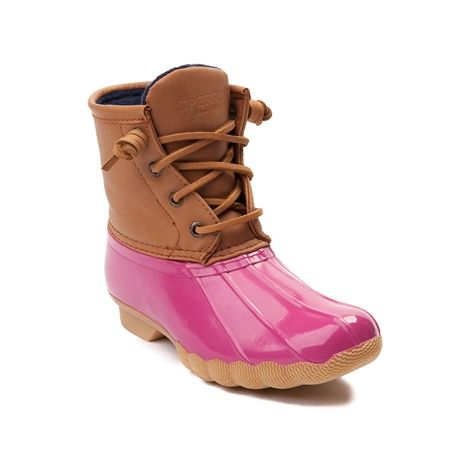 Take this season by storm with the new Saltwater Boot from Sperry Top-Sider! She'll be ready to splash and play with the Saltwater Boot, featuring a duck boot design with seam-sealed, waterproof construction, and soft fleece lining for comfort and warmth. Only available in select stores and online at JourneysKidz.com! Available for shipment in October; Pre-order yours today!